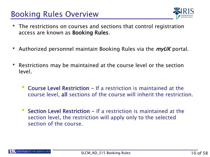 Booking Rules Overview