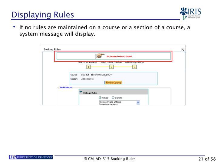 Displaying Rules