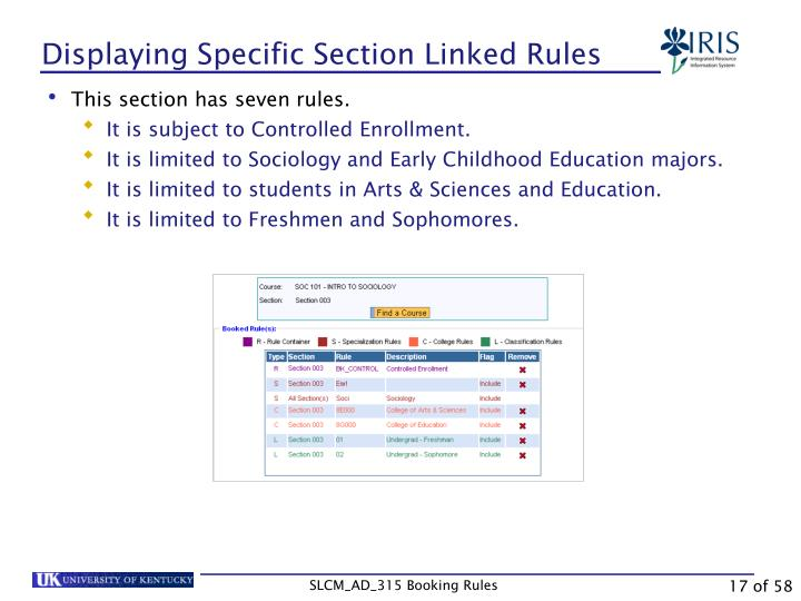 Displaying Specific Section Linked Rules