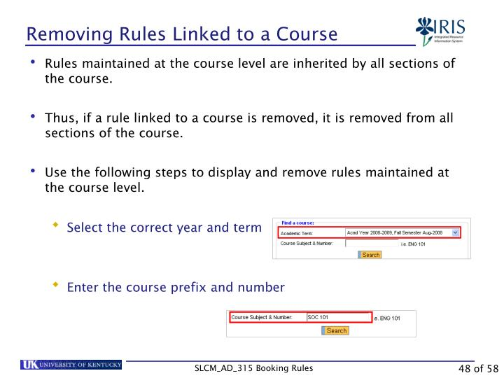 Removing Rules Linked to a Course
