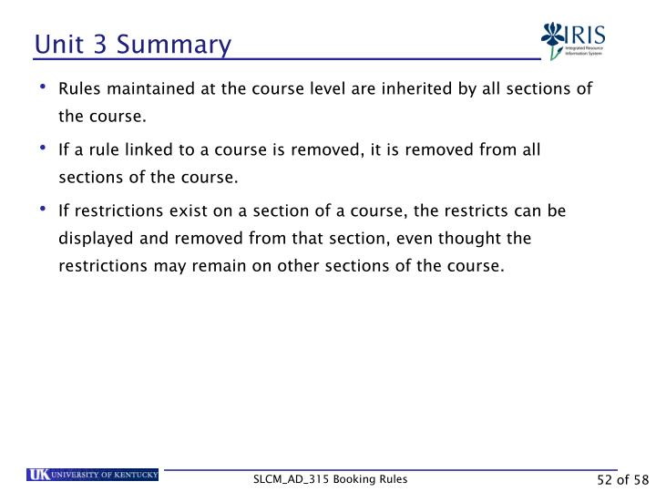 Unit 3 Summary