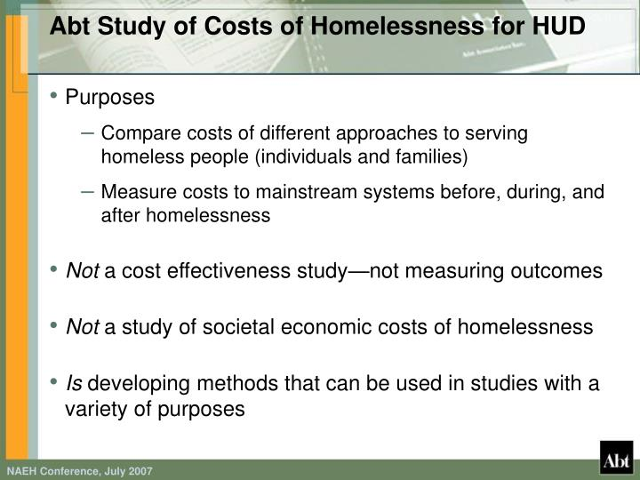 Abt Study of Costs of Homelessness for HUD