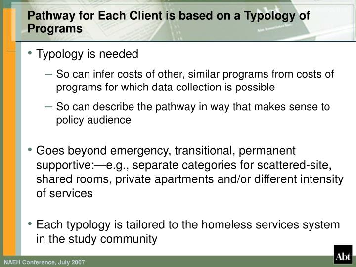Pathway for Each Client is based on a Typology of Programs