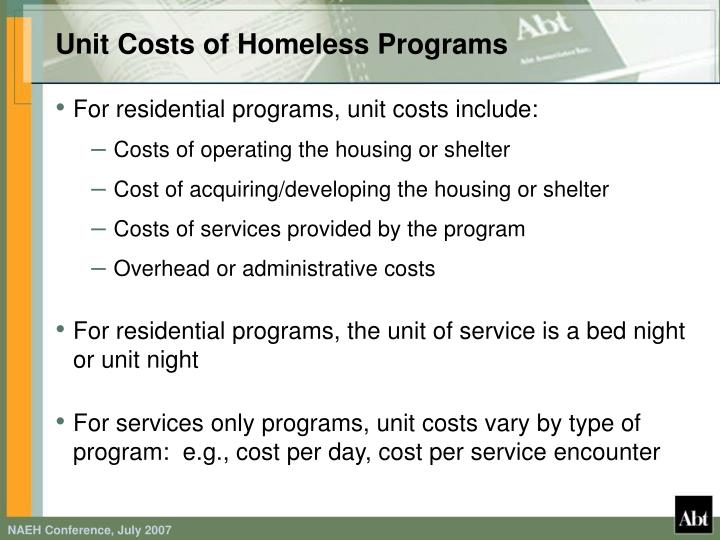 Unit Costs of Homeless Programs