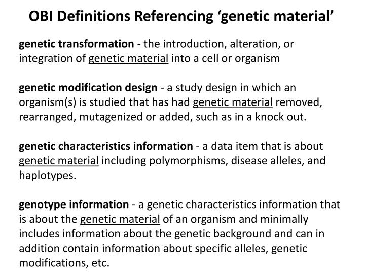OBI Definitions Referencing 'genetic