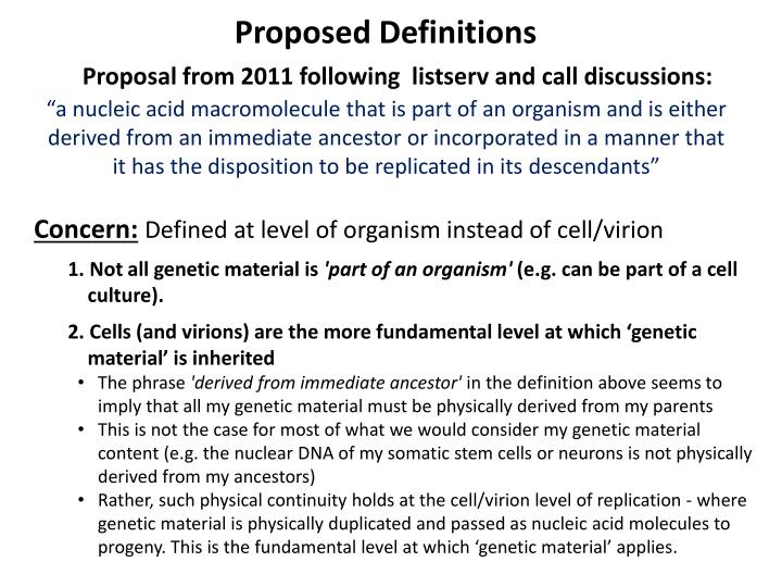 Proposed Definitions