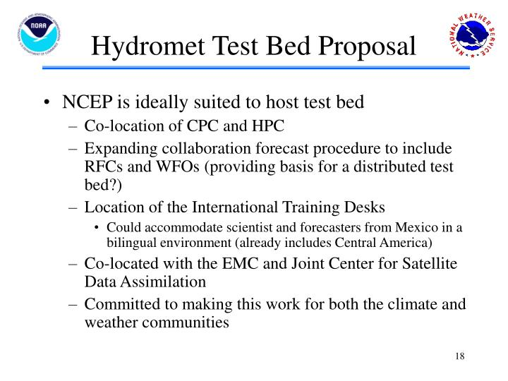 Hydromet Test Bed Proposal