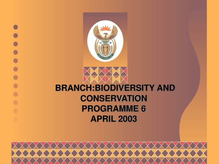 Branch biodiversity and conservation programme 6 april 2003