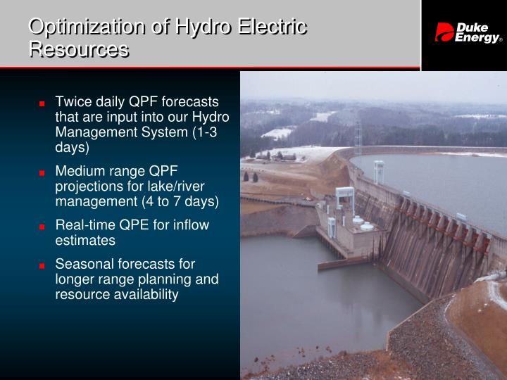 Optimization of Hydro Electric Resources