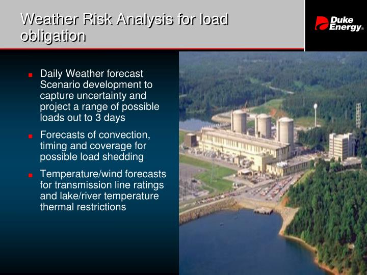 Weather Risk Analysis for load obligation