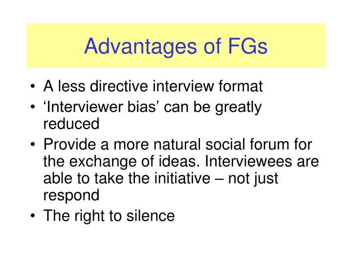Advantages of FGs