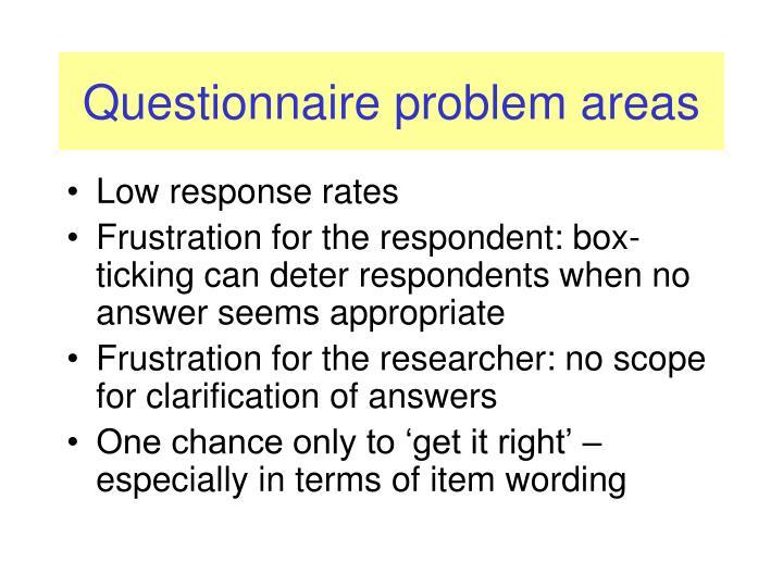 Questionnaire problem areas