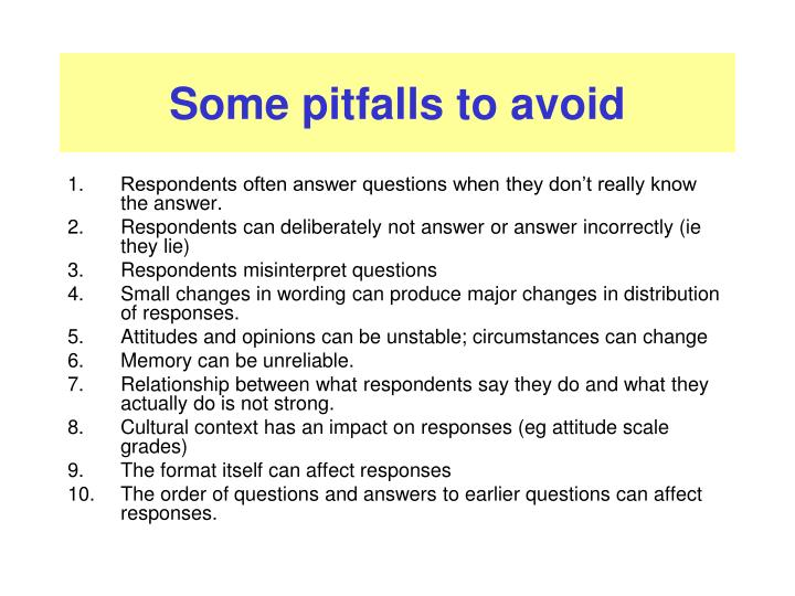 Some pitfalls to avoid