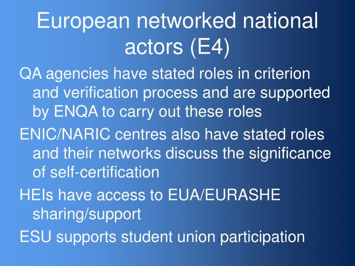 European networked national actors (E4)