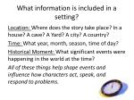 what information is included in a setting