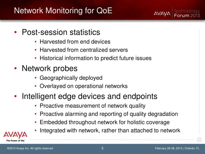 Network Monitoring for QoE