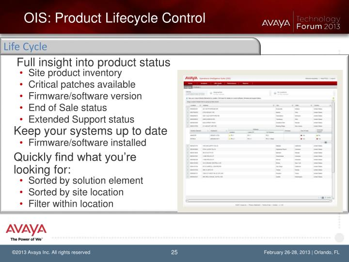 OIS: Product Lifecycle Control
