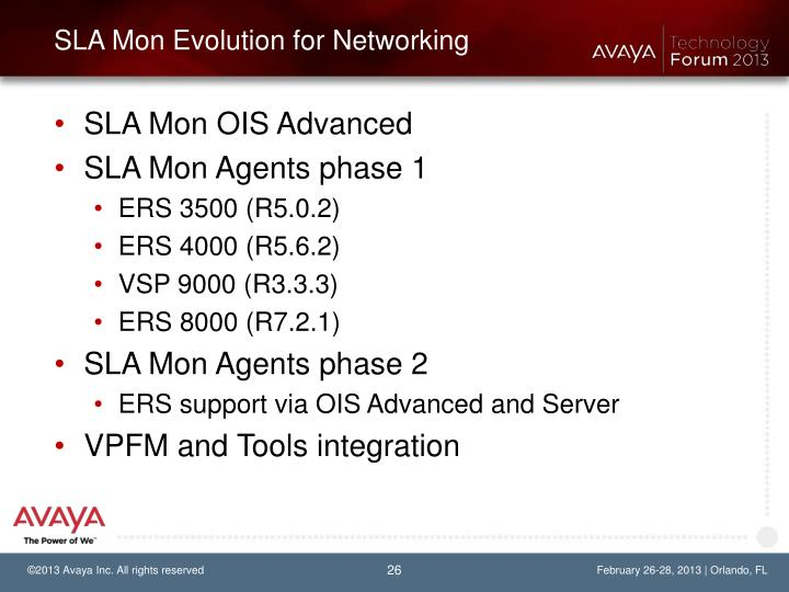 SLA Mon Evolution for Networking