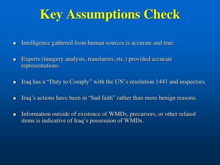 Key Assumptions Check