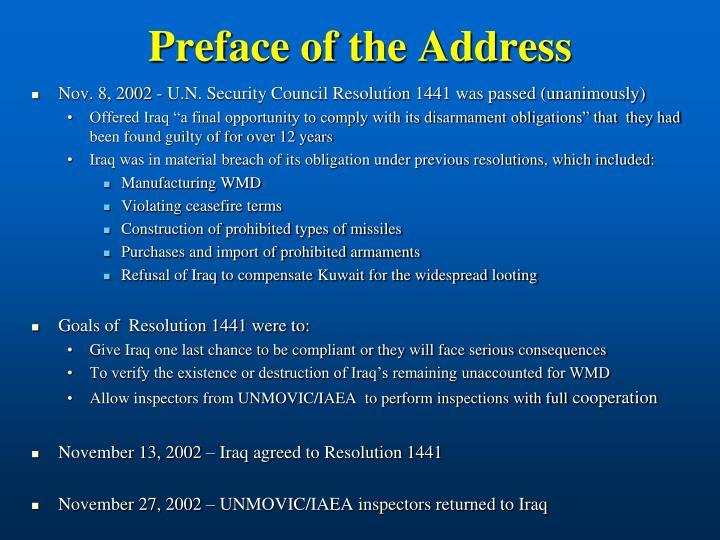 Preface of the Address