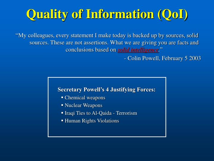 Quality of Information (