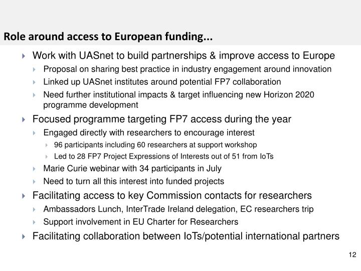 Role around access to European funding