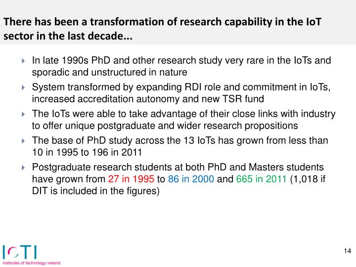 There has been a transformation of research capability in the
