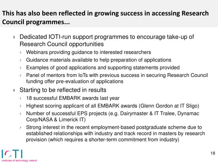 This has also been reflected in growing success in accessing Research Council