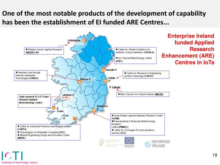 One of the most notable products of the development of capability has been the establishment of EI funded ARE