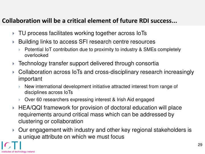 Collaboration will be a critical element of future RDI success