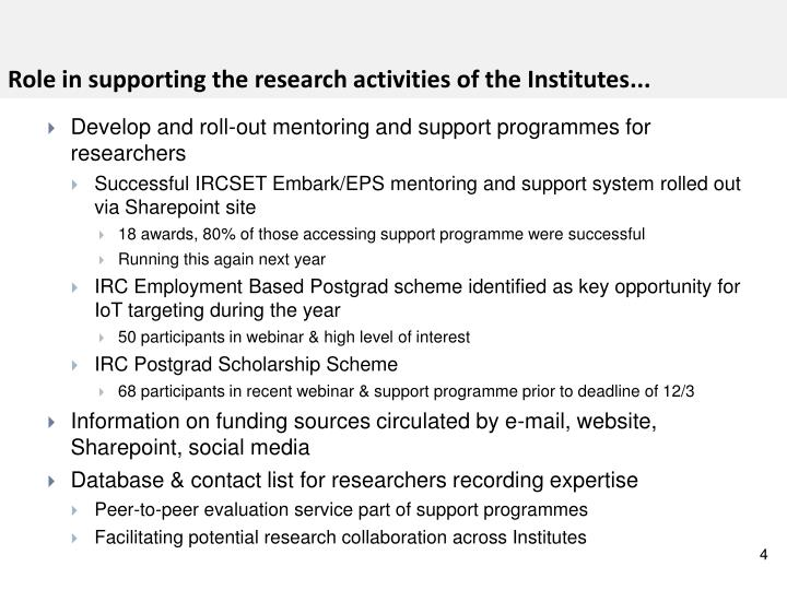 Role in supporting the research activities of the Institutes