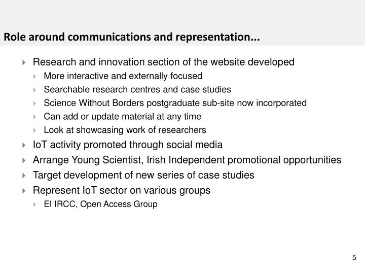 Role around communications and representation