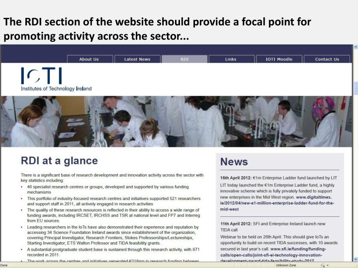 The RDI section of the website should provide a focal point for promoting activity across the sector