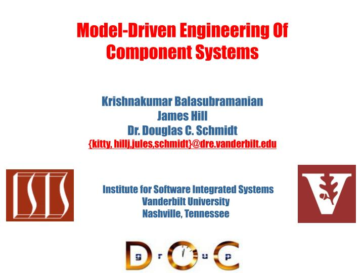 model driven engineering of component systems