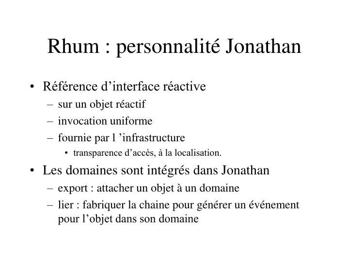 Rhum : personnalité Jonathan