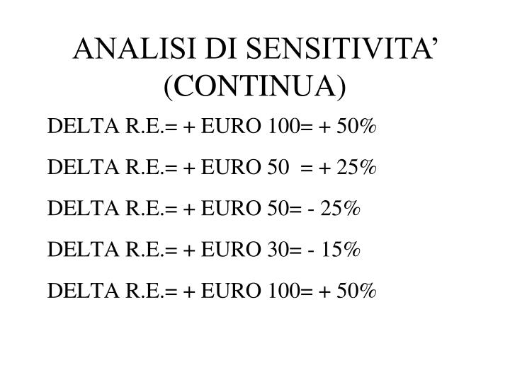 ANALISI DI SENSITIVITA' (CONTINUA)