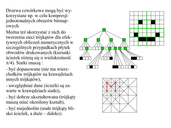 Drzewa czwórkowe mogą być wy-korzystane np. w celu kompresji jednotonalnych obrazów bitmap-owych.