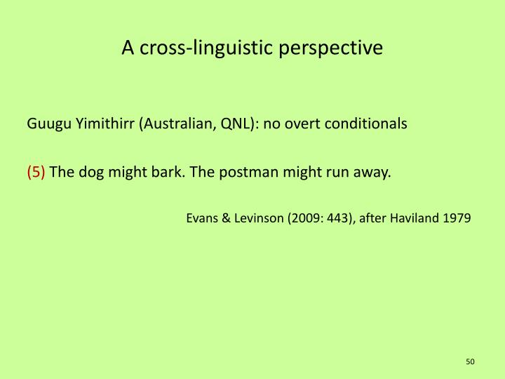 A cross-linguistic perspective