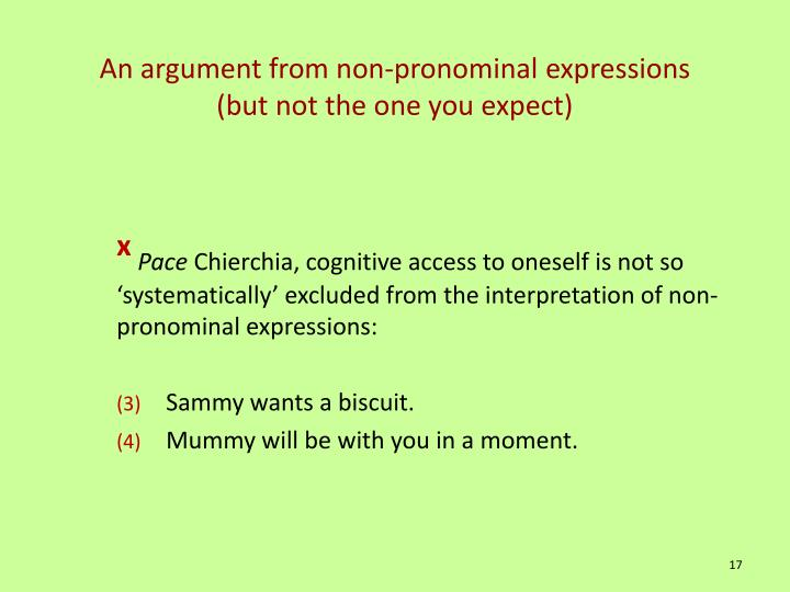 An argument from non-pronominal expressions