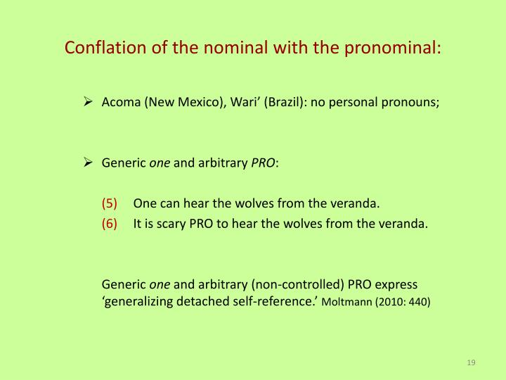 Conflation of the nominal with the pronominal: