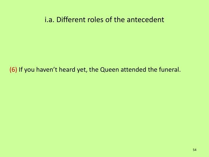 i.a. Different roles of the antecedent