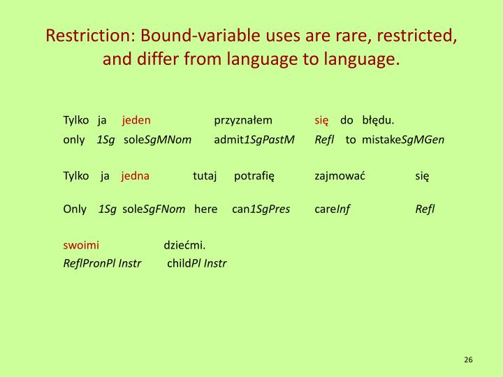 Restriction: Bound-variable uses are rare, restricted, and differ from language to language.