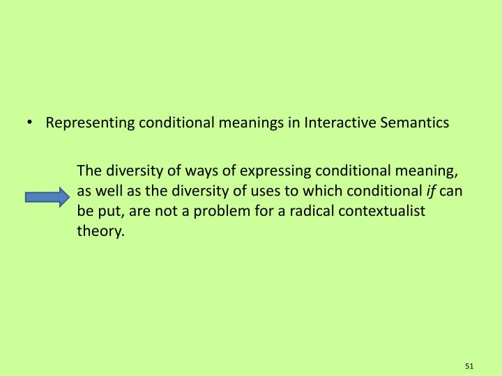 Representing conditional meanings in Interactive Semantics