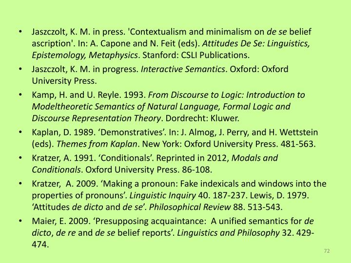 Jaszczolt, K. M. in press. 'Contextualism and minimalism on