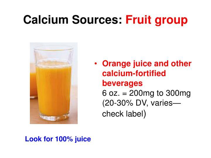 Calcium Sources: