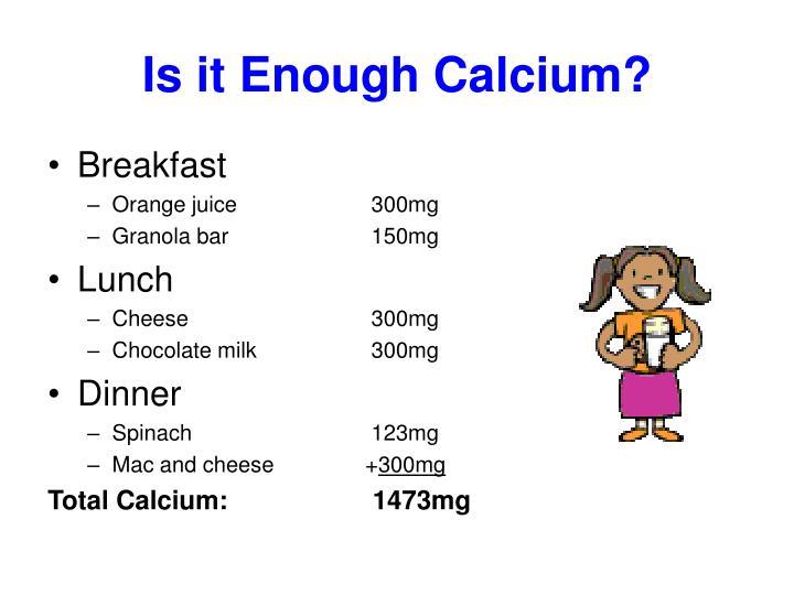Is it Enough Calcium?