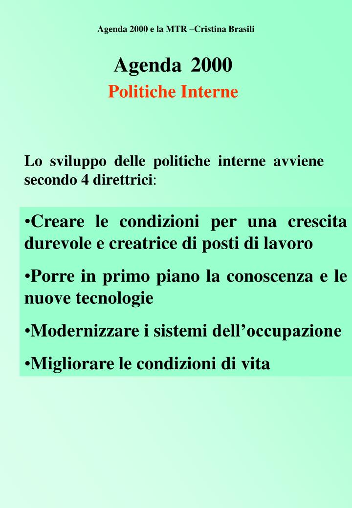 Agenda 2000 politiche interne