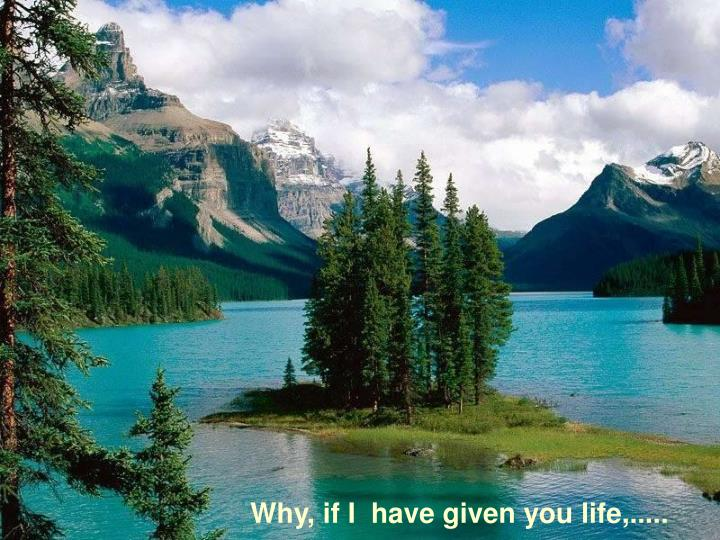 Why, if I  have given you life,.....