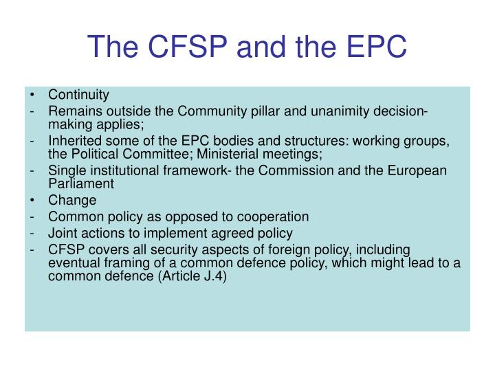 The cfsp and the epc