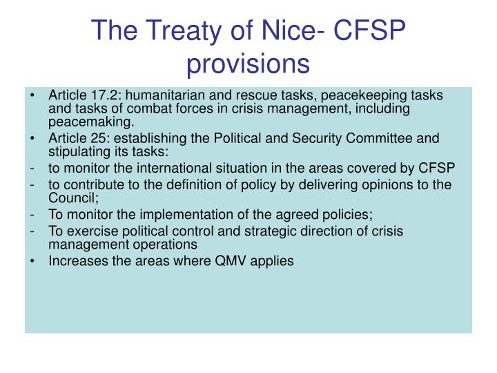 The Treaty of Nice- CFSP provisions